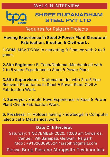 Job Vacancy for Freshers & Experienced CRM / Site Engineer / Site Supervisors / Surveyor / ITI Freshers For Shree Rupanadham Steel Pvt. Ltd Chhattisgarh