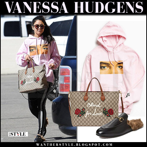 Vanessa Hudgens in pink Elvis hoodie with brown canvas tote gucci what she wore march 2017