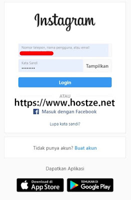 Menu Login Instagram - Hostze.net