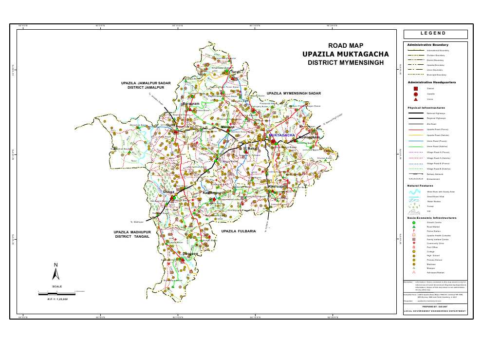 Muktagacha Upazila Road Map Mymensingh District Bangladesh