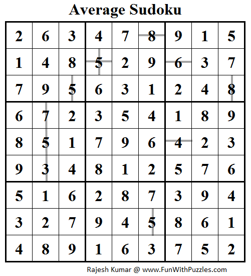Average Sudoku (Daily Sudoku League #101) Solution
