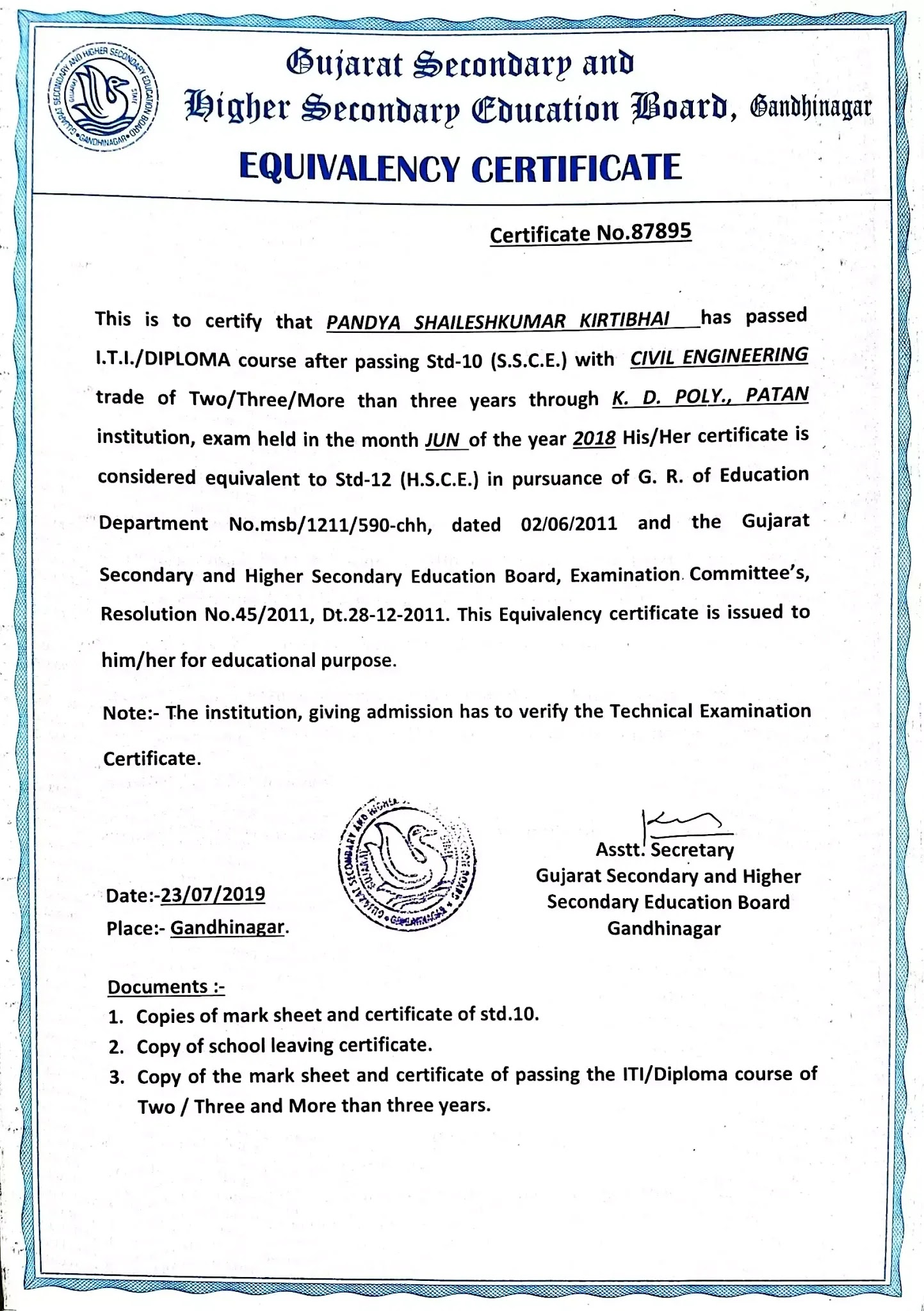 How to get 12th HSC Equivalent Certificate after Diploma/ITI