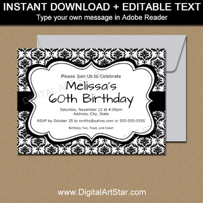 black and white damask invitations with editable text