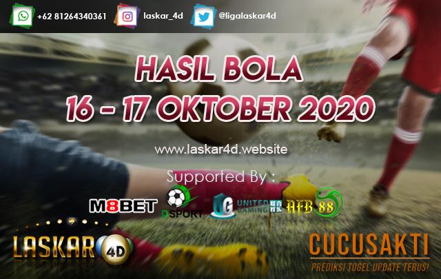 HASIL BOLA JITU TANGGAL 16 - 17 OKTOBER 2020