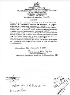 Resposta da presidente da Câmara de Chapadinha ao pedido de afastamento