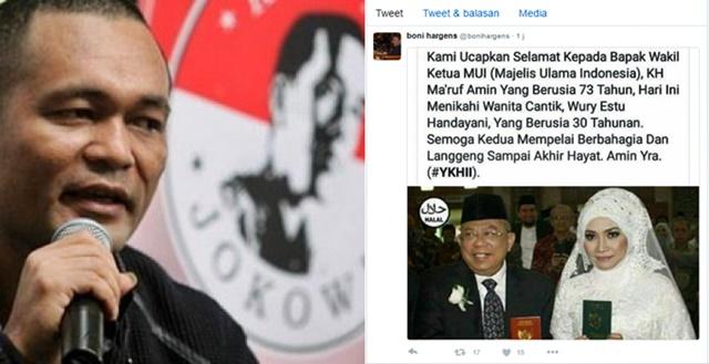 Dapat Kecaman Publik, Boni Hargens Hapus Foto Pernikahan Ketua MUI dan Minta Maaf : kabar Terbaru Hari Ini