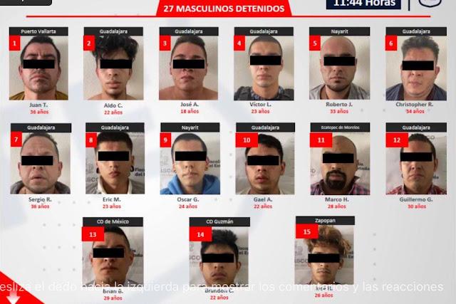 Con cara y rostro estos son los 33 detenidos tras enfrentamiento en la Colonia Chapalita de Zapopan; Jalisco, pertenecen al CJNG