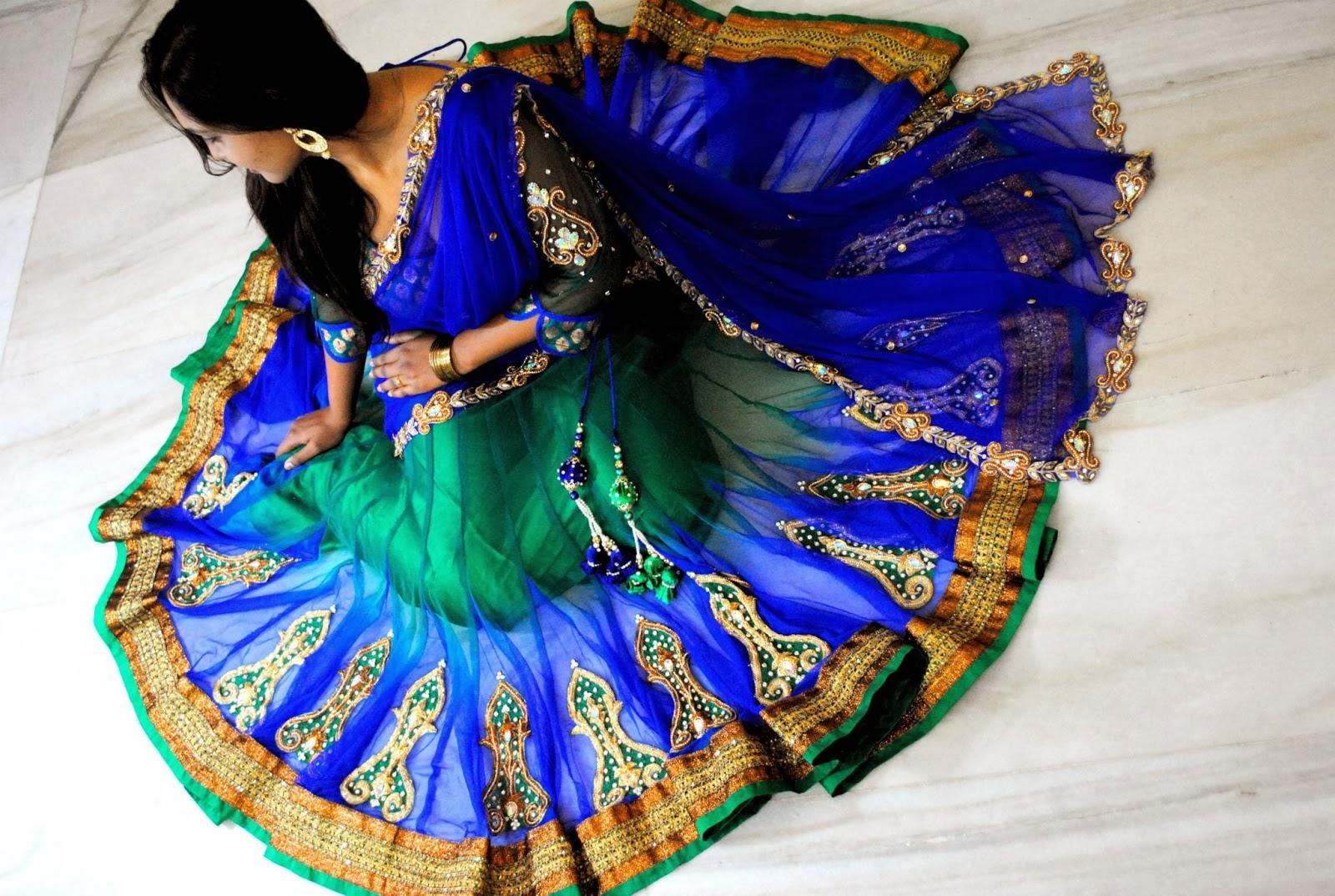 Indian Dresses Peacock Colour Half Saree With Swarovski