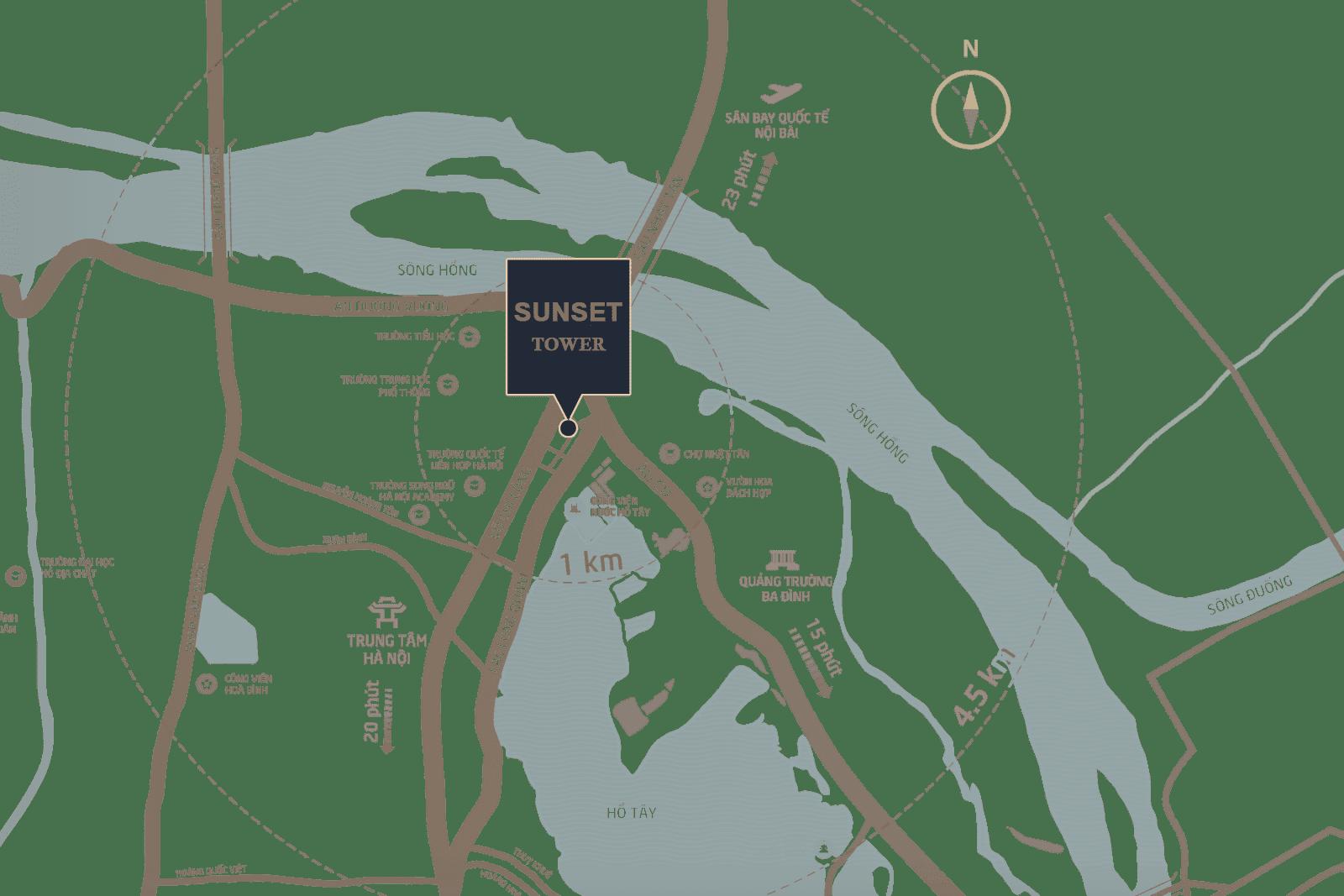 Chung cư Sunset Tower có vị trí đắc địa hàng đầu Tây Hồ.