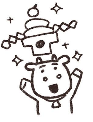 鏡餅を掲げる牛のイラスト(丑年・白黒線画)
