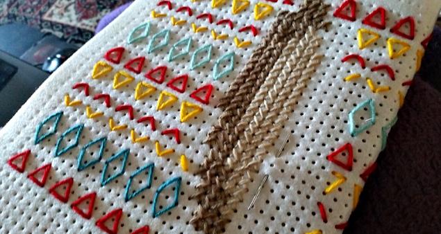 My cross stitch pattern. The start of a rabbit.