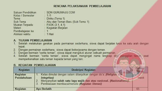 RPP 1 Lembar PJOK SD Kelas 1 Tema 1 K13 Revisi