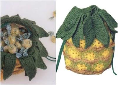 Bolso forma ananas-piña crochet patrón