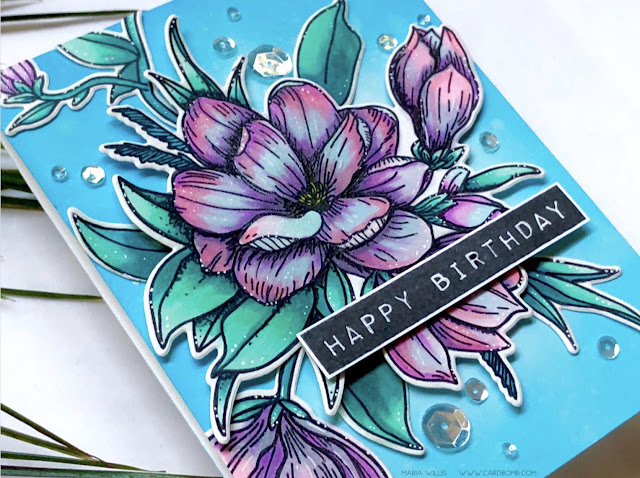 #cardbomb, #mariawillis, #waffleflowercrafts, #magnolia, #flowers, #card, #handmade, #handmadecards, #stamp, #ink, #paper, #papercraft, #color, #copics, #copicmarkers, #distressoxides, #timholtz, #tonicstudios, #simonsaysstamp,