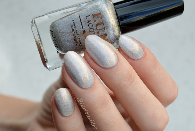 fun lacquer holo swatch pearly white top coat