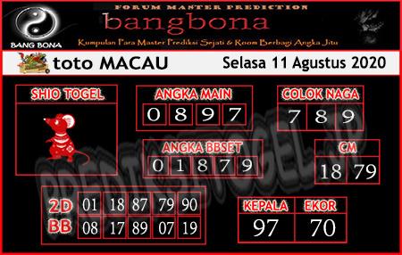 Prediksi Bangbona Togel Macau Selasa 11 Agustus 2020