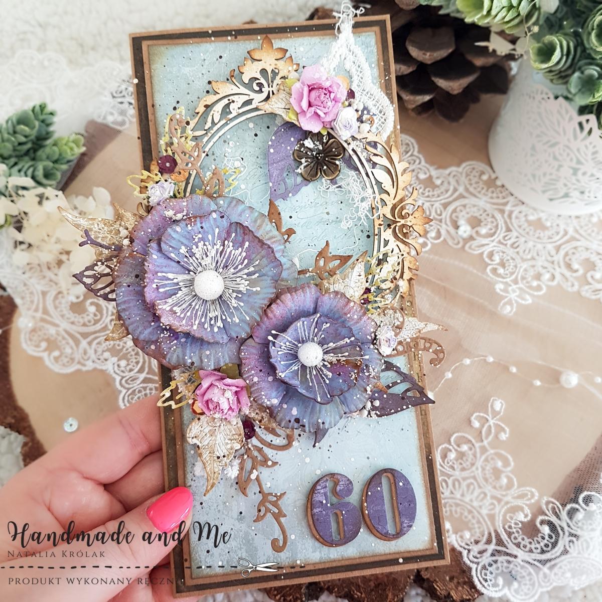 Kwiatowa kartka w kolorach lawendy