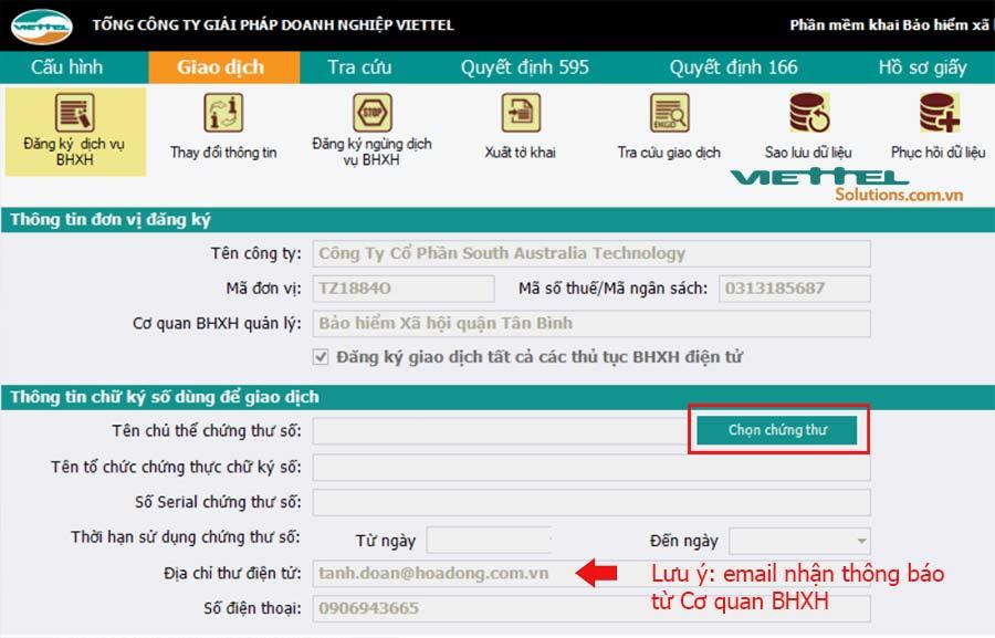 Hình 3 - Chọn chữ ký số để đăng ký giao dịch BHXH điện tử