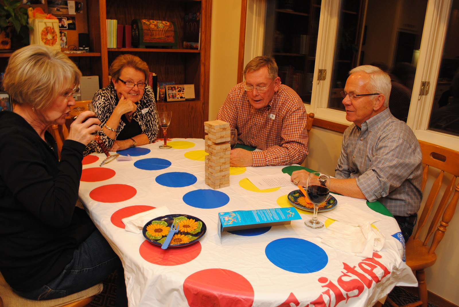 Game Night Glass Tables: The Boatwright Family: Wine Club Game Night