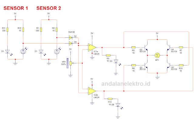 Skema rangkaian robot line follower 4 sensor driver transistor
