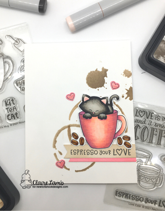 Espresso your love by Claire features Newton's Mug, Love Cafe and Newton Loves Coffee by Newton's Nook Designs; #newtonsnook, #cardmaking, #inkypaws, #coffee_crafters, #coffeelovingcardmakers, #catcards