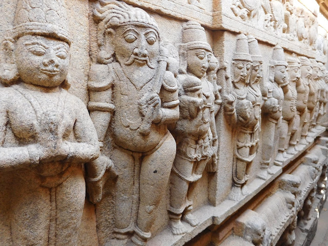 Relief carving of sages on the wall of the Uma-Mahesvara shrine room, Bhoga Nandeeshwara Temple, Karnataka