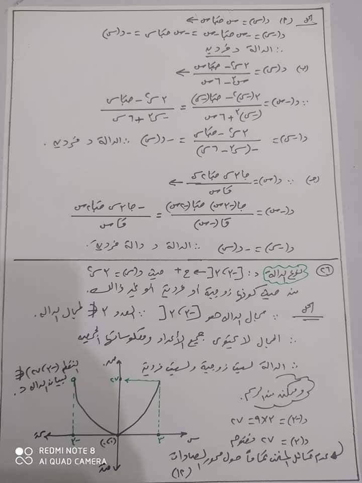 مراجعه جبر 2 ثانوي بالاجابات أ/ يحيي شعيشع 12