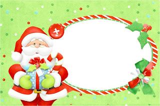 Para hacer invitaciones, tarjetas, marcos de fotos o etiquetas, para imprimir gratis de Santa en Fondo Verde.