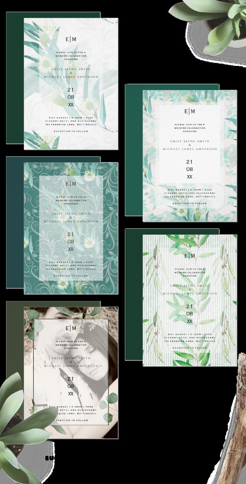 eucalyptus leaf wedding invitations