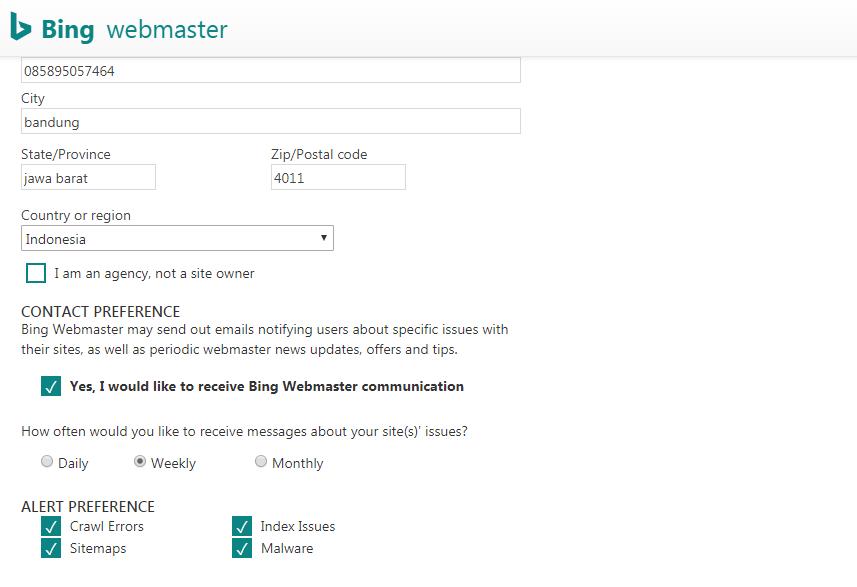 Cara Mendaftarkan, Memverifikasi dan Mensubmit Blog pada Bing Webmaster