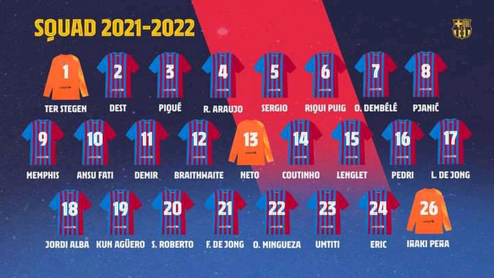 Barcelona Registered squad numbers for 2021/21 Detailed in full: Dembele No. 7, Demir No. 11