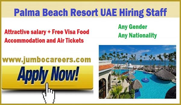latest jobs in UAE, Resort job vacancies in Umm al Qaiwan , Palma Beach Hotel UAE careers 2018