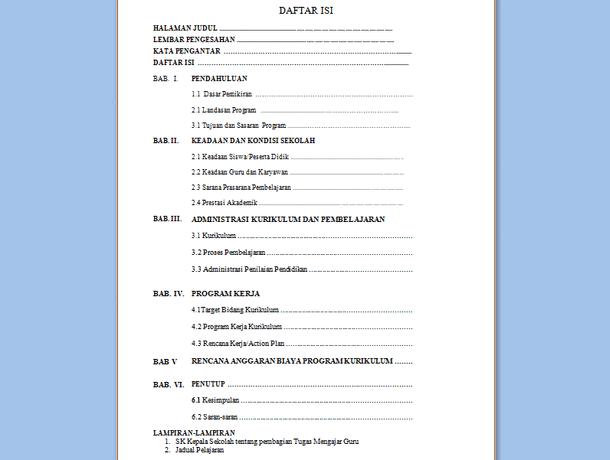 Contoh Program Kerja Kurikulum 2013