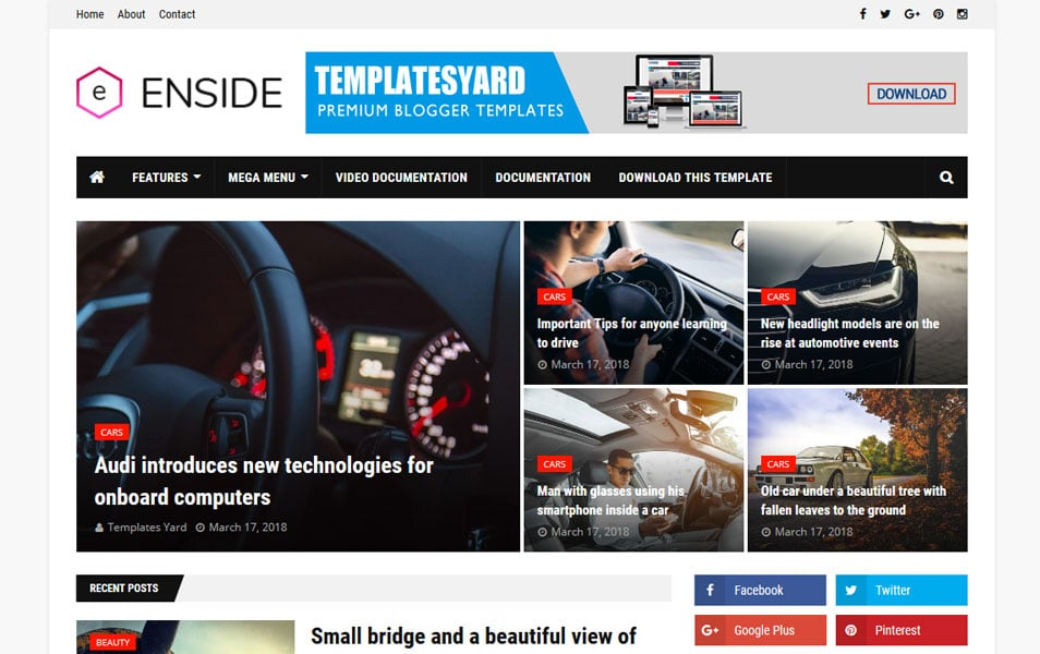Enside Responsive Blogger Template