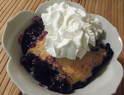 blueberry cobbler with whipped cream