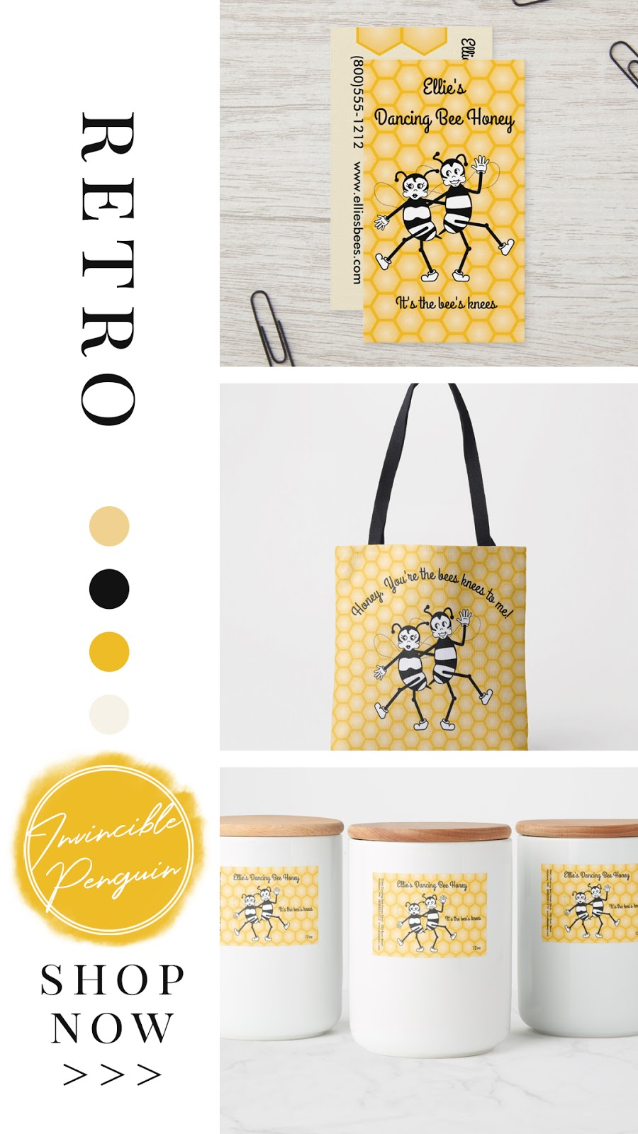 Retro dancing black and white bees and yellow honeycomb patterned background. On honey jar labels, tote bags, business cards, personalized gifts. It's the bees knees! In black amber and yellow color palette.