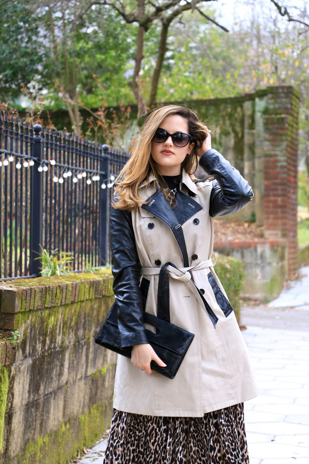 Nyc fashion blogger Kathleen Harper wearing a leopard dress and trench coat outfit.