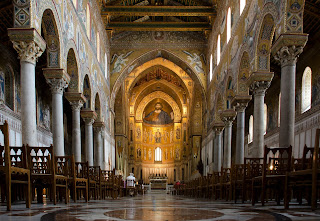 Inside the cathedral at Monreale, just outside Palermo, with its fabulous Byzantine mosaics