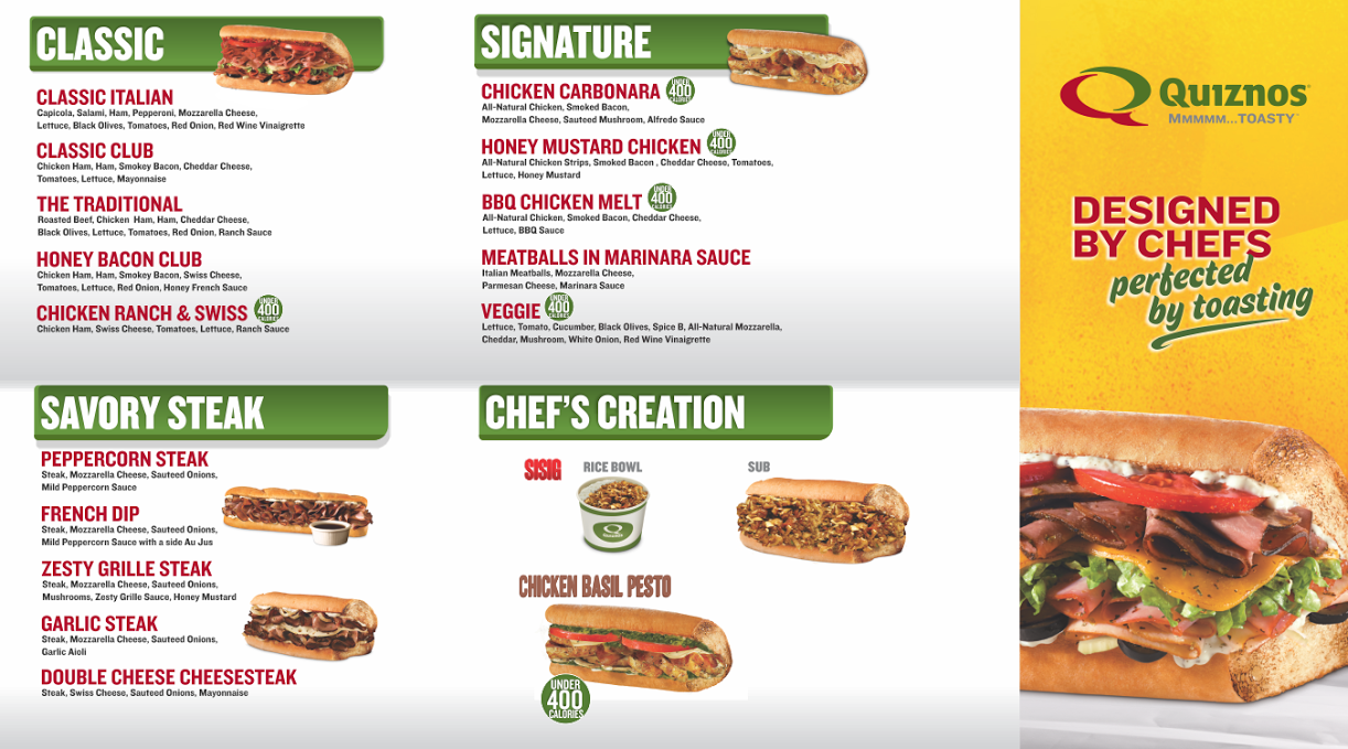 Menu For Quiznos Replacement Turntable Needles
