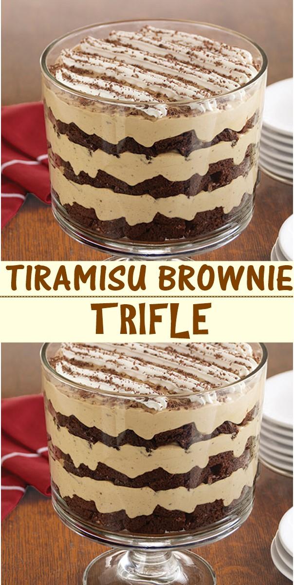 TIRAMISU BROWNIE TRIFLE #dessertrecipes