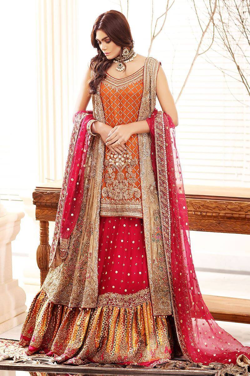 Noor Mahal by Aisha Imran Golden and Rust Bridal Dress for Pakistani Women