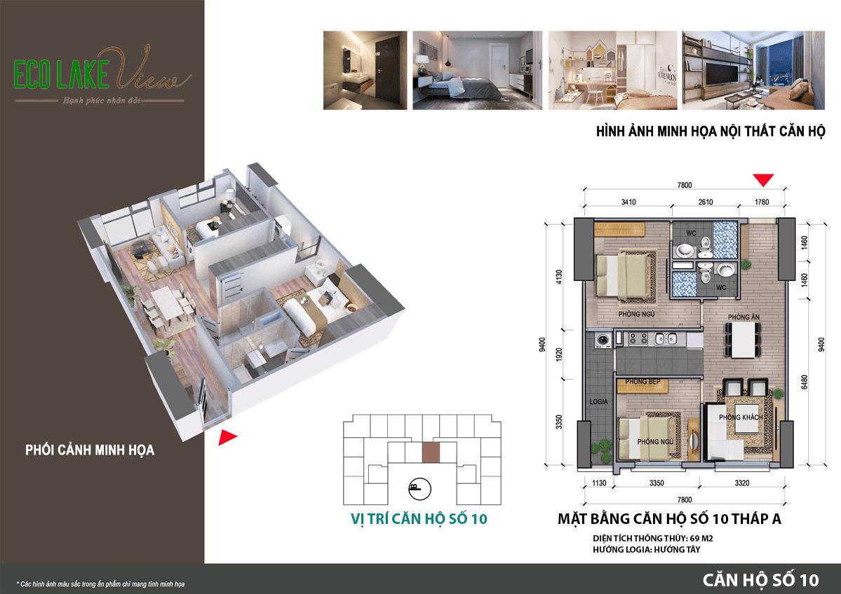 Mặt bằng căn hộ số 10 tòa HH02