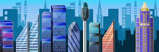 fondo videojuego gran ciudad rascacielos vector