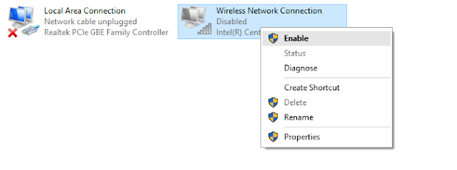 Disabling Network Connection in Windows 10
