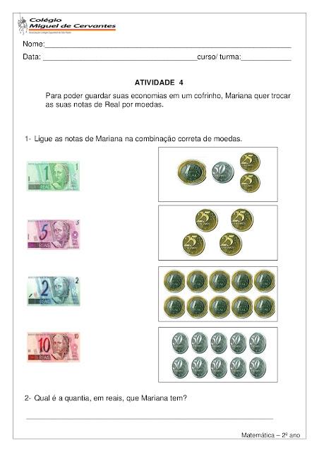 atividades de matematica 2o ano sistema monetario