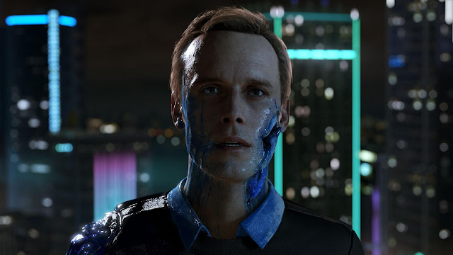 A man stands infront of a city backdrop at night with exposed robotic wounds and blue blood, from Deroit Become Human