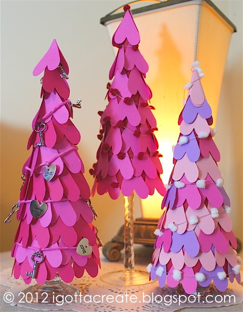 Valentine paper heart cone trees! | tutorial at I Gotta Create!
