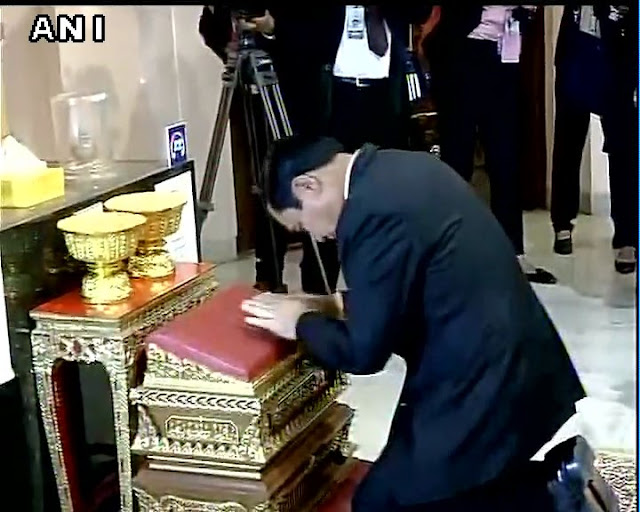 Thai PM Prayut Chan-o-cha, a devout Buddhist, made time to visit National Museum at New Delhi on Friday and prayed to the sacred Buddha relics.  Prayut Chan-o-cha, a former Army chief and follower of  Theravada Buddhism, is known for intense faith in Thailand. He wears an elephant hair bracelet to ward off bad luck and has a collection of lucky rings. He is known to consult a fortune teller and has in the past blamed his political rivals for casting spells to make him fall ill.  The National Museum houses four bone fragments stated to be of Buddha at a replica of stupa. The fragments, which are kept in caskets, are part of the trove of 22 bone fragments that were discovered in the 1970s in Kapilavastu, Uttar Pradesh.