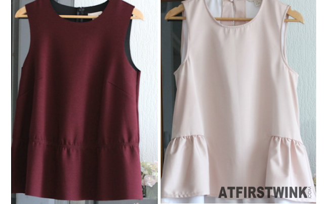 H&M bordeaux and pink satin peplum tops