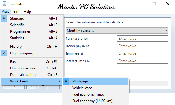 Windows 8 Calculator Options